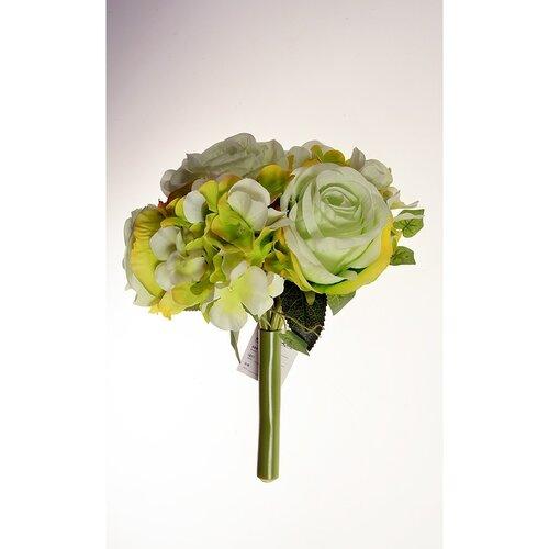 Buchet artificial Trandafiri cu hortensie verde, 26 cm