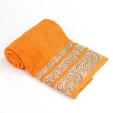 Osuška Ornament oranžová, 70 x 130 cm