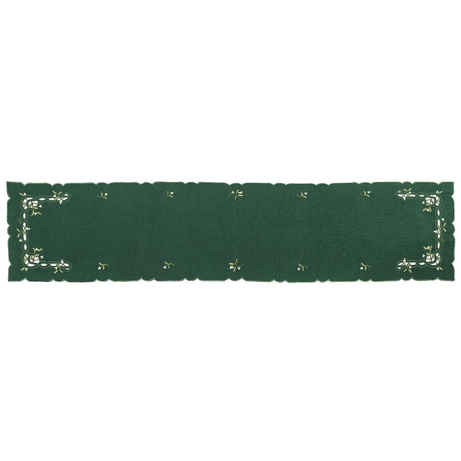 Forbyt Vánoční ubrus jmelí zelená,, 35 x 160 cm