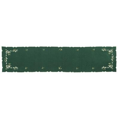 Vánoční ubrus jmelí zelená, 35 x 160 cm