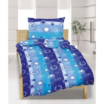 Krepové povlečení Bubliny modré, 140 x 220 cm, 70 x 90 cm