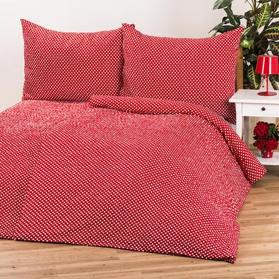 Krepové obliečky Pallas Bodky červená, 140 x 200 cm, 70 x 90 cm