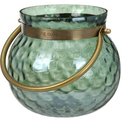 Świecznik szklany z uchwytem, zielony