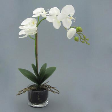 Umělá květina orchidej v květináči bílá