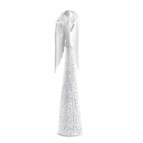 Vánoční Anděl s flétnou bílá, 49 cm