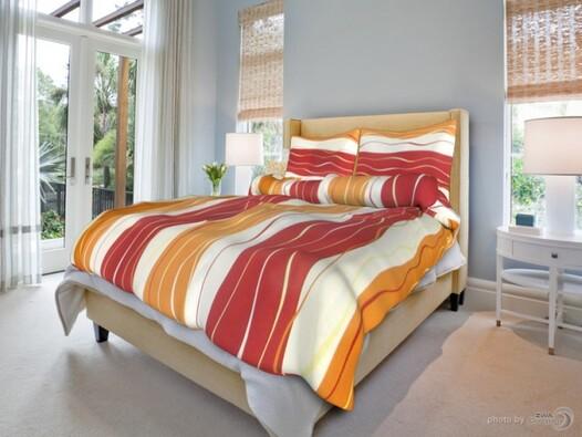Bavlněné povlečení Vlny červenooranžové, 140 x 200 cm, 70 x 90 cm