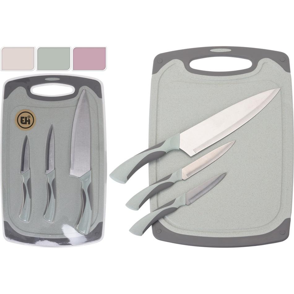 3dílná sada nožů s prkénkem Excellent, růžová