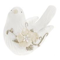 Dekoračný vtáčik z polyresinu Poly 13,5 x 10 cm, biela