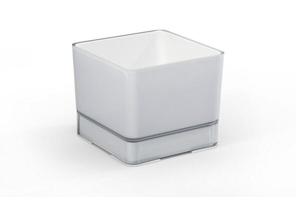 Doniczka osłonka plastikowa Cube 200 jasnoszara