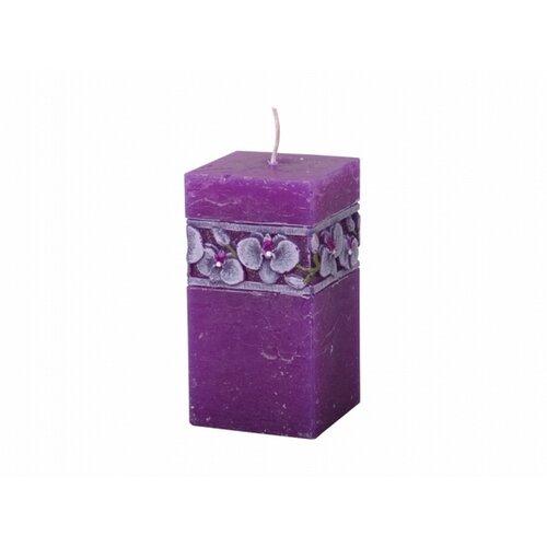 Vyřezávaná svíčka Fialová orchidej, hranol