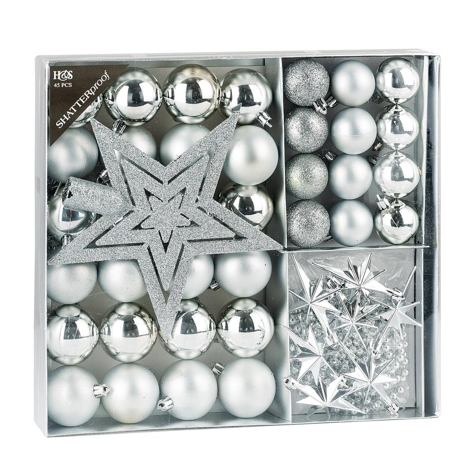 Sada vánoční ozdob Luxury stříbrná, 45 ks