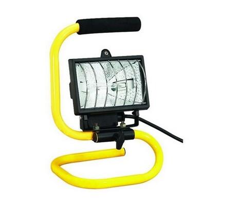 Venkovní přenosná halogenová svítilna Solight, žlutá