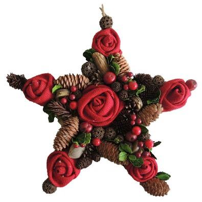 StarDeco Dekoratívna hviezda Ruže červená, 35 cm