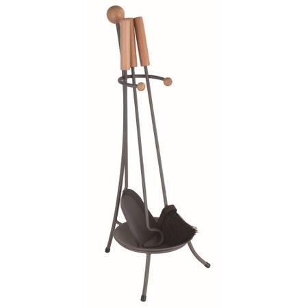 M.A.T Group nářadí krb.v.67cm, ČER ocel/dřevo, sada 3díl. se stojánkem