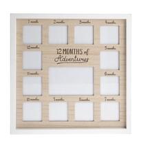 Drevený fotorámček Prvý rok života, 37 x 37 x 1,8 cm