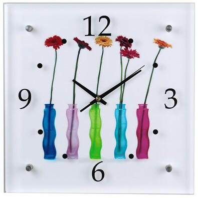 Nástěnné hodiny Flowers, skleněné