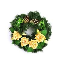 Dušičkový veniec so žltými ružami, 25 cm