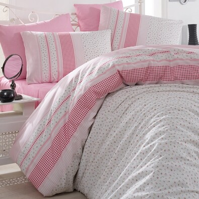 Bavlnené obliečky Defne Ružové, 220 x 200 cm, 2x 70 x 90 cm