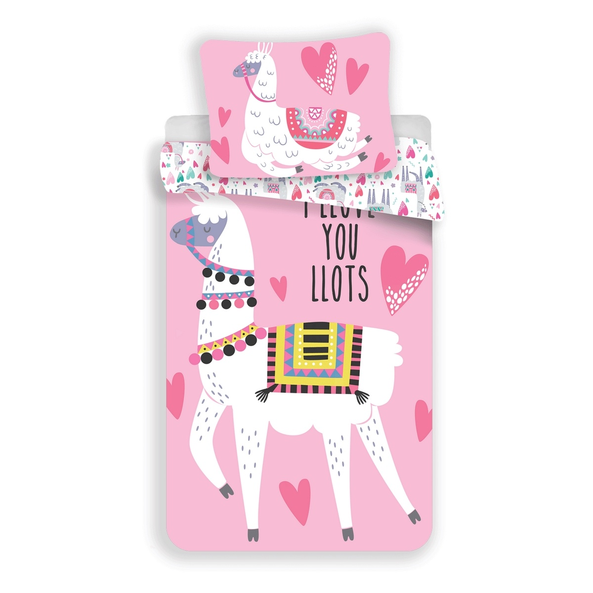 Jerry Fabrics Dětské bavlněné povlečení Lama pink, 140 x 200 cm, 70 x 90 cm