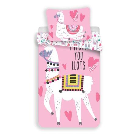 Jerry Fabrics Lama pink gyermek pamut ágynemű, 140 x 200 cm, 70 x 90 cm