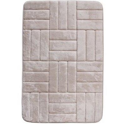 Kockák fürdőszobaszőnyeg memóriahabbal krémszínű, 40 x 50 cm