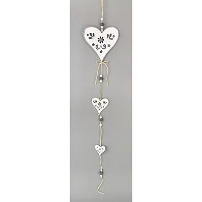Dřevěná závěsná dekorace Srdce bílá, 50 cm