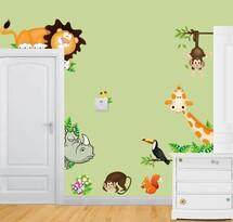 Samolepicí dekorace barevná zvířatka savana