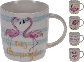 Koopman Flamingó bögrekészlet 350 ml, 4 db