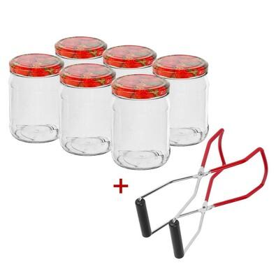 Sada zavařovacích sklenic 0,5l 6 ks + ZDARMA kleště na vytahování sklenic