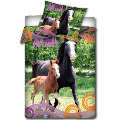 Bavlněné povlečení Animal Planet - Klisna a hříbě, 140 x 200, 70 x 80 cm