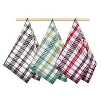 Kuchynská utierka Káro zelená, hnedá, červená, 50 x 70 cm, sada 3 ks