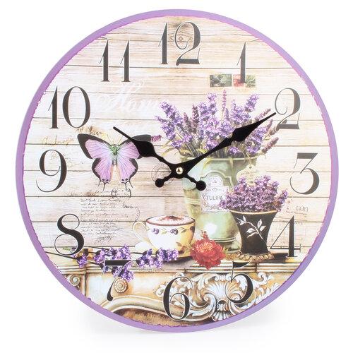 Nástěnné hodiny Levandulový motýl