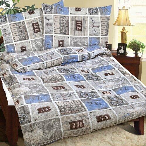 Lenjerie pat 1 pers. Street albastră, din bumbac, 140 x 200 cm, 70 x 90 cm