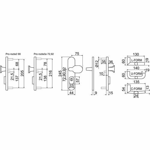 Dverové bezpečnostné kovanie s držadlom, rozteč 92 mm