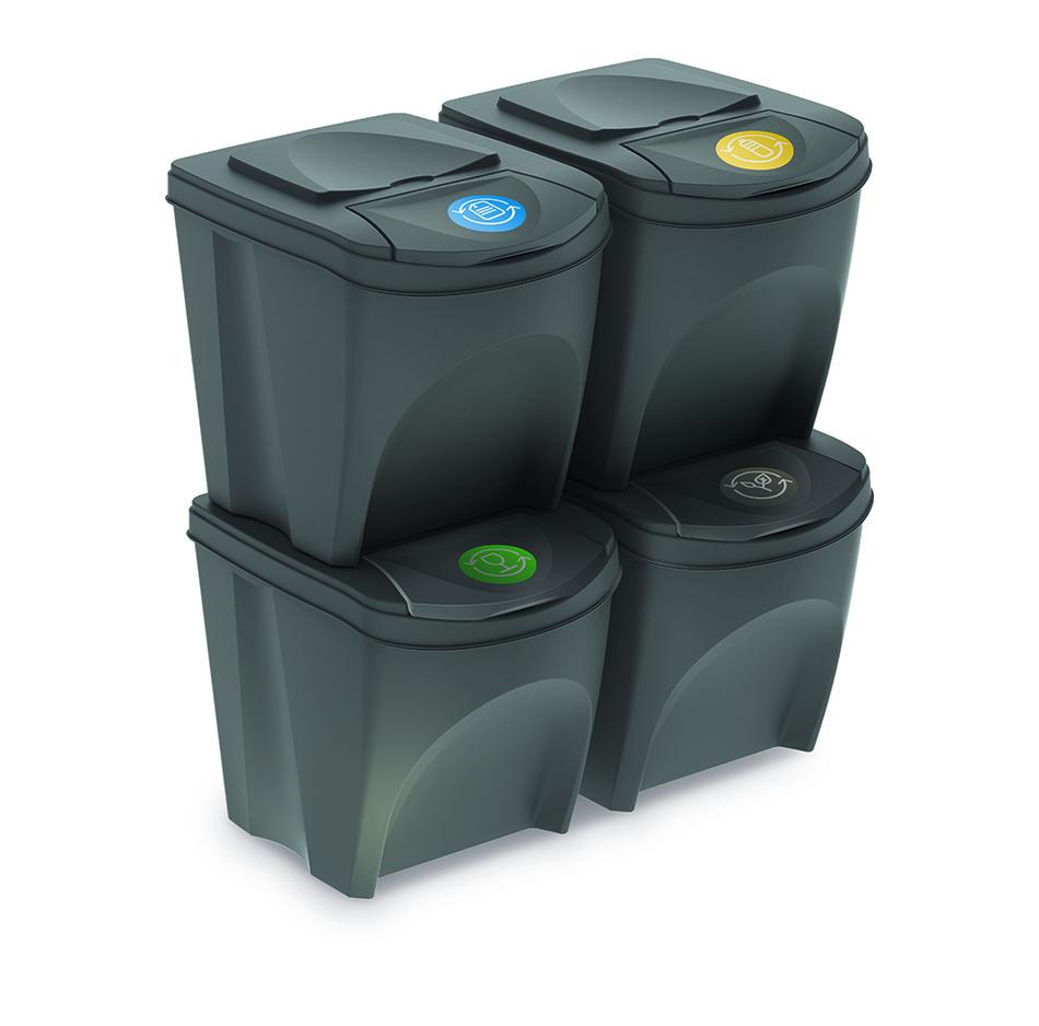 Kôš na triedený odpad Sortibox 25 l, 4 ks, sivá IKWB20S4 405U
