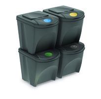 Sortibox Szelektív hulladékgyűjtő kosarak, szürke, 25 l, 4 db