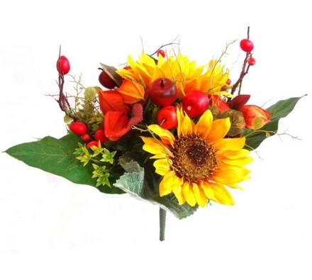 Umělá ozdobná kytice se slunečnicí, 28 cm