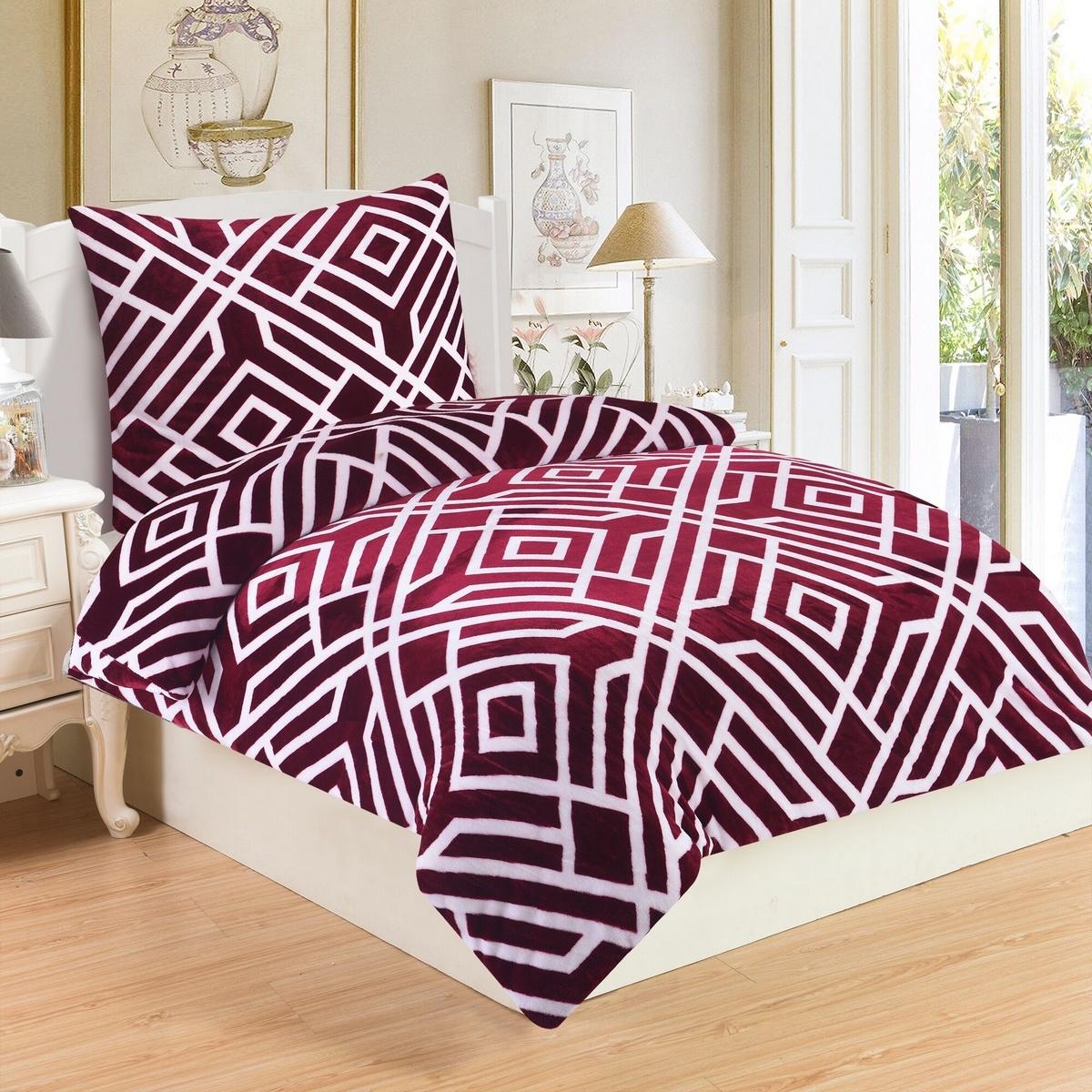 Jahu Obliečky mikroplyš Labyrint vínová, 140 x 200 cm, 70 x 90 cm