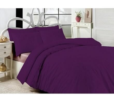 Saténové povlečení Uni fialová, 140 x 220 cm, 70 x 90 cm