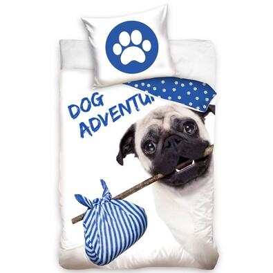Lenjerie de pat, din bumbac, Mops - Dog Adventure, 140 x 200 cm, 70 x 90 cm