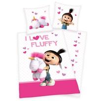 Lenjerie de pat Herding Mimoni Agnes-I love Fluffy, din bumbac, de copii 135 x 200 cm, 80 x 80 cm