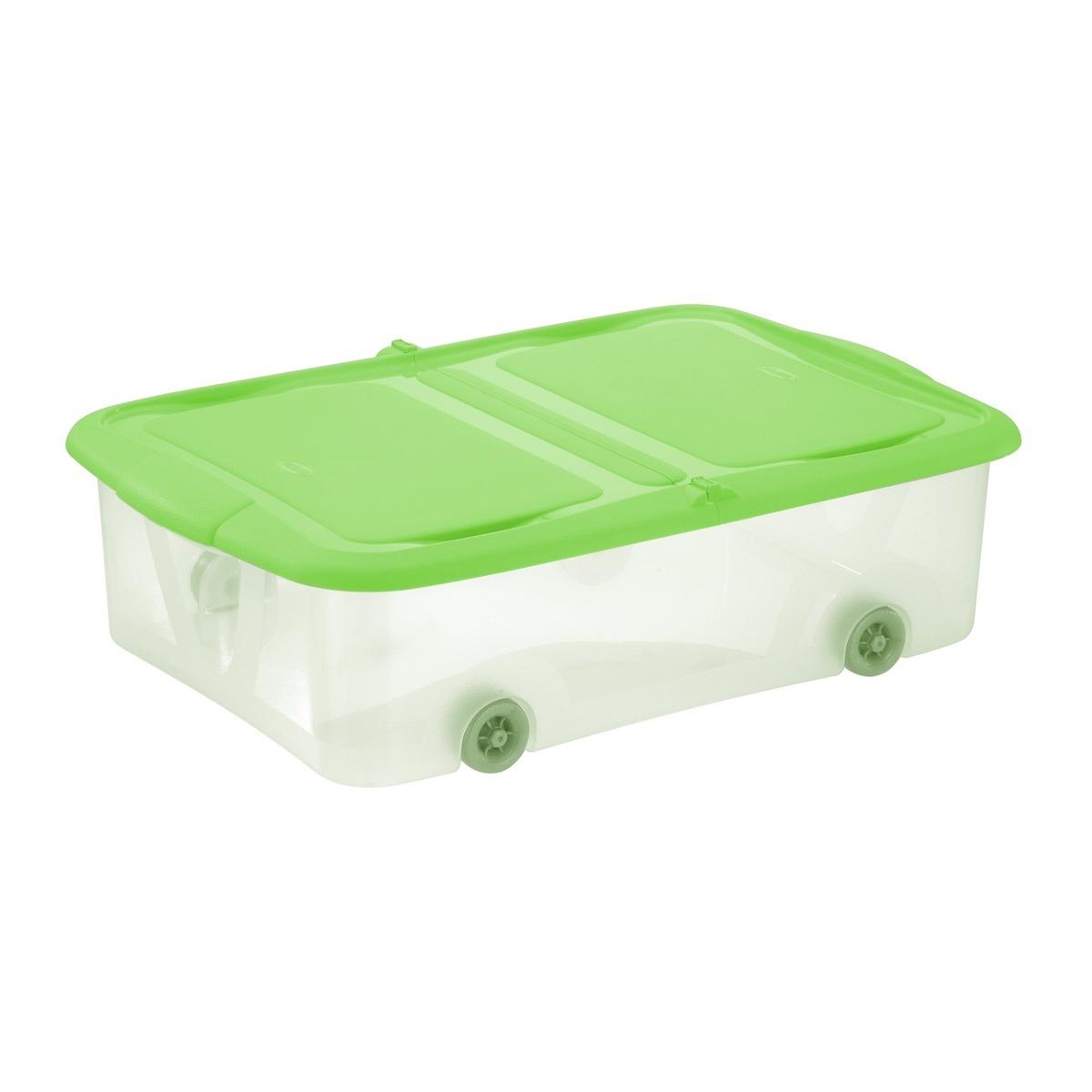 Tontarelli STOCK Box 25L s víkem transparent/zelená;58.7X39.5XH16.8CM, kolečka