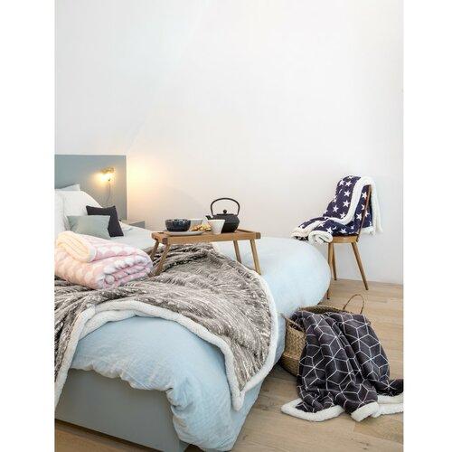 Mistral Home Koc z barankiem Stars niebieski, 150 x 200 cm