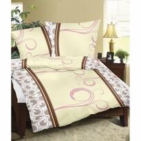 Lenjerie de pat, din flanelă, Fantezie maro, 140 x 200 cm, 70 x 90 cm