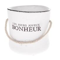Recipient ceramic de ghiveci Bonheur, alb, 15 cm