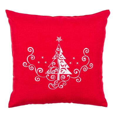 Karácsonyfa Ornamentum párnahuzat piros, 40 x 40 cm