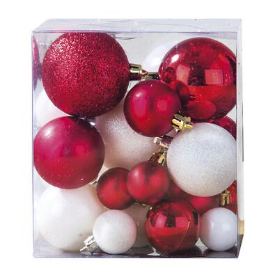 Vianočné gule 31 ks biela a červená