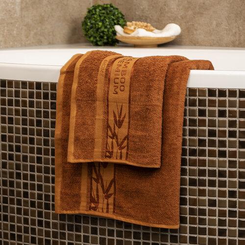 4Home Sada Bamboo Premium osuška a uterák hneda, 70 x 140 cm, 50 x 100 cm
