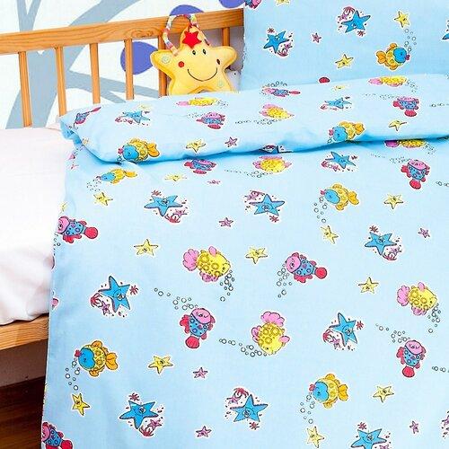 Detské bavlnené obliečky do postieľky Veselá rybka, 90 x 130 cm, 40 x 60 cm