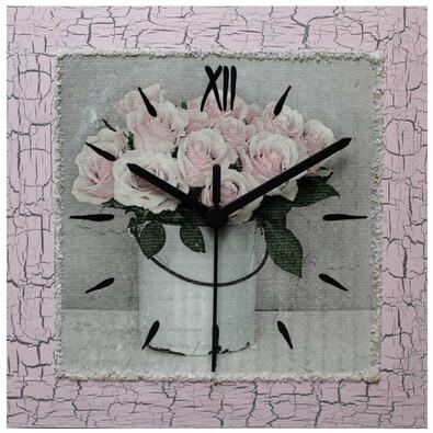 Nástěnné hodiny Retro kytice růží